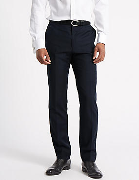 Navy Checked Tailored Fit Wool Trousers