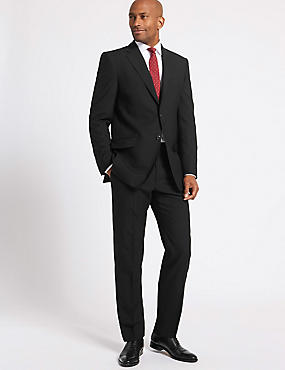 Black Regular Fit Wool Suit