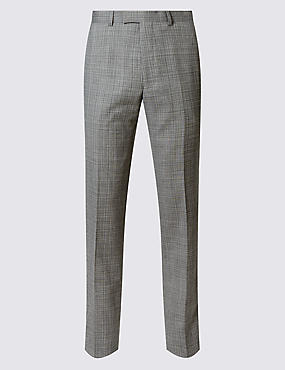 Grey Textured Tailored Fit Wool Trousers
