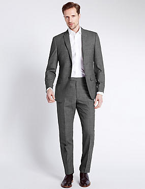 Black Checked Tailored Fit Wool Suit