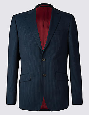 Navy Striped Slim Fit Wool 3 Piece Suit