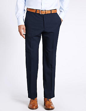 Navy Striped Regular Fit Wool Trousers