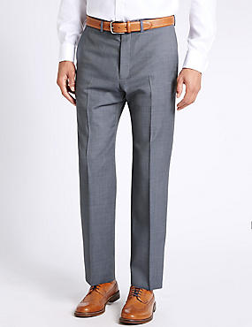 Blue Textured Regular Fit Wool Trousers