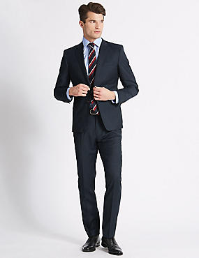 Big & Tall Navy Tailored Fit Wool Suit