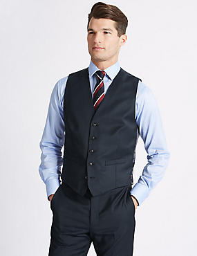Navy Tailored Fit Wool Waistcoat, NAVY, catlanding
