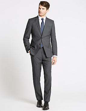 Charcoal Textured Slim Fit Wool Suit