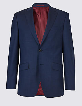 Blue Textured Regular Fit Wool Jacket