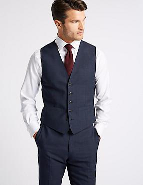 Indigo Checked Tailored Fit Wool Waistcoat, INDIGO, catlanding