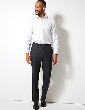 Charcoal Checked Regular Fit Wool Trousers, CHARCOAL, catlanding