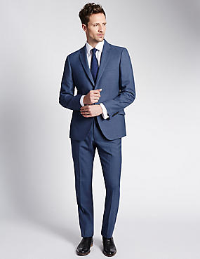 Blue Tailored Fit Single Breasted Jacket