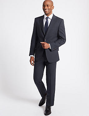 Big & Tall Navy Striped Regular Fit Suit
