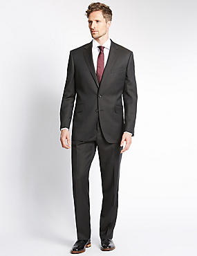Brown Regular Fit Wool Suit