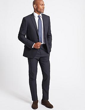 Navy Slim Fit Wool Jacket, NAVY, catlanding