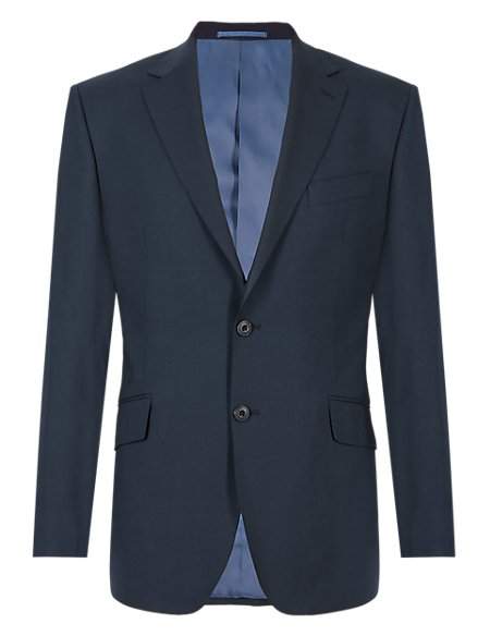 Navy Regular Fit Wool Jacket