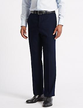 Navy Regular Fit Wool Trousers, NAVY, catlanding