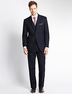 Big & Tall Navy Regular Fit Wool 3 Piece Suit