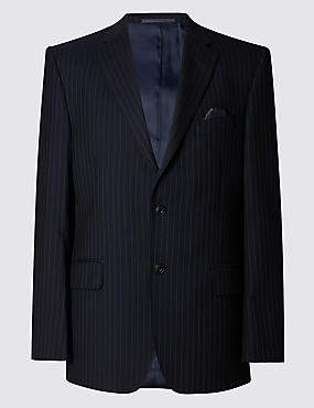 Big & Tall Navy Striped Regular Fit Suit Including Waistcoat