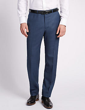 Big & Tall Blue Regular Fit Wool Trousers