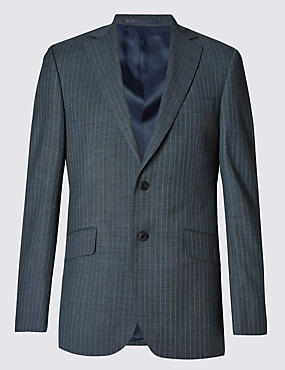 Grey Striped Regular Fit Suit
