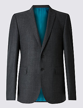 Charcoal Slim Fit Textured Suit Including Waistcoat