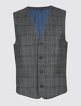 Charcoal Tailored Fit Wool Waistcoat