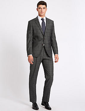 Charcoal Checked Tailored Fit Wool Suit