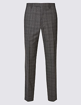 Charcoal Checked Tailored Fit Wool Trousers