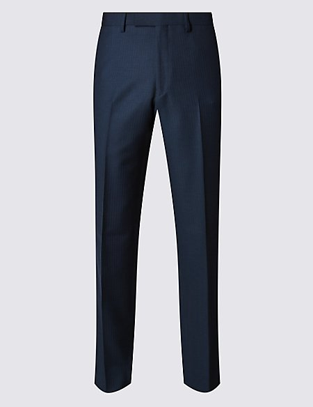 Indigo Tailored Fit Wool Rich Trousers