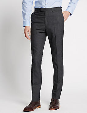 Grey Checked Modern Slim Fit Trousers