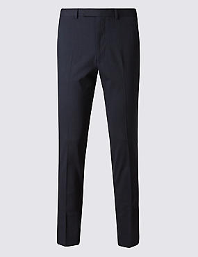 Navy Striped Modern Slim Fit Trousers
