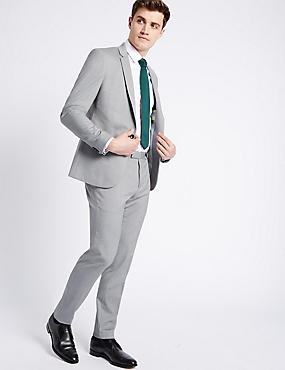 Grey Textured Modern Slim Fit Suit
