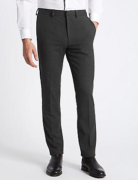 Grey Textured Slim Fit Trousers, GREY, catlanding