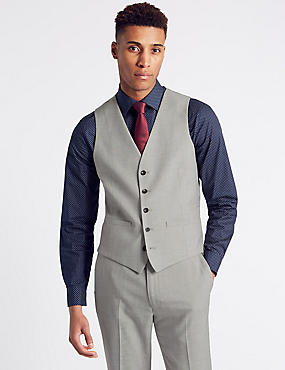 Cream Textured Modern Slim Fit Waistcoat, NEUTRAL, catlanding