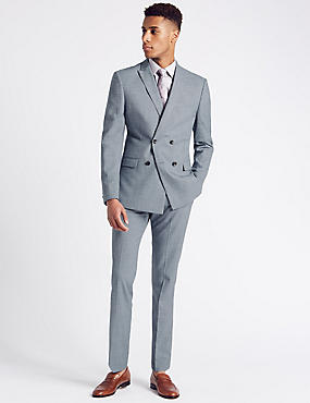 Blue Modern Slim Fit Double Breasted Jacket