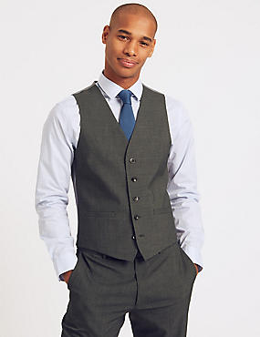 Charcoal Checked Slim Fit Waistcoat, CHARCOAL, catlanding