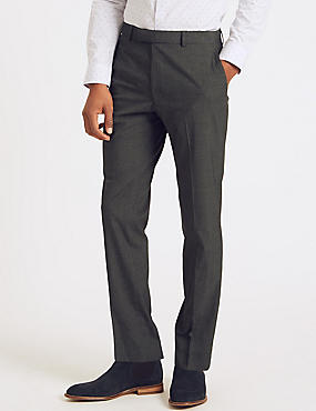 Charcoal Checked Slim Fit Trousers, CHARCOAL, catlanding