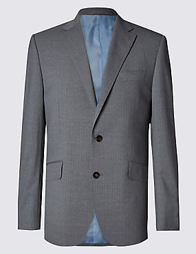 Grey Striped Tailored Fit Suit