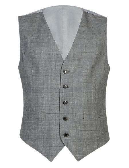 Pure Wool 5 Button Checked Waistcoat with Stormwear™