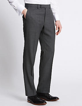 Grey Textured Tailored Fit Trousers