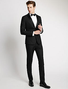 Black Textured Modern Slim Tuxedo Suit