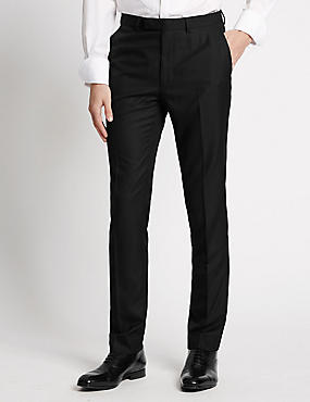 Black Textured Modern Slim Fit Trousers