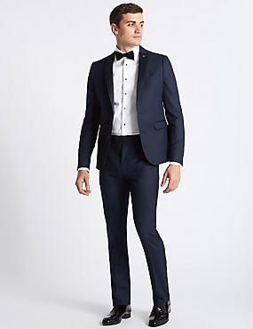 Navy Textured Modern Slim Fit Jacket