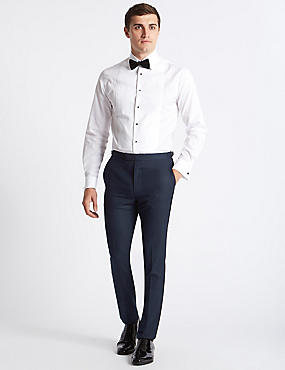 Navy Textured Modern Slim Fit Trousers