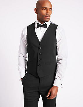 Black Slim Fit Dinner Waistcoat, BLACK, catlanding