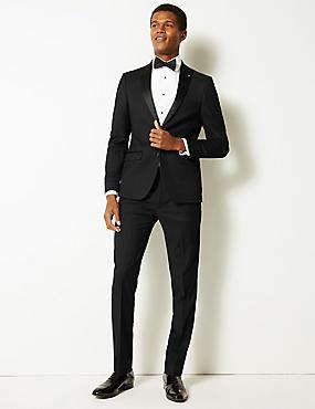 Black Textured Modern Slim Fit Jacket, BLACK, catlanding