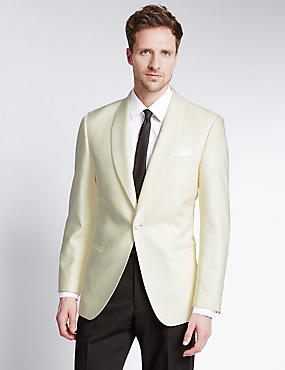 Wool Blend Tailored Fit 1 Button Tuxedo Jacket