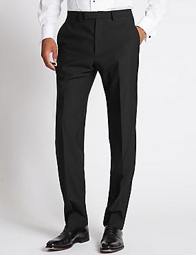 Black Regular Fit Wool Trousers, BLACK, catlanding
