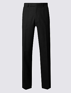 Black Regular Fit Wool Trousers