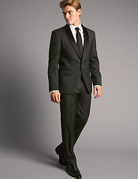 Charcoal Tailored Fit Italian Wool Tuxedo Suit