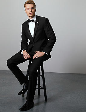 Black Tailored Fit Italian Wool Tuxedo Suit